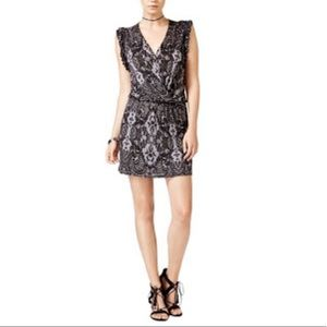 Allover Lace Print Ruffled Cuffs Lined Dress